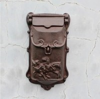Rustic Cast Iron Mail Box Mailbox Metal Letters Post Box Wall Mounted Postbox Country Home Decor