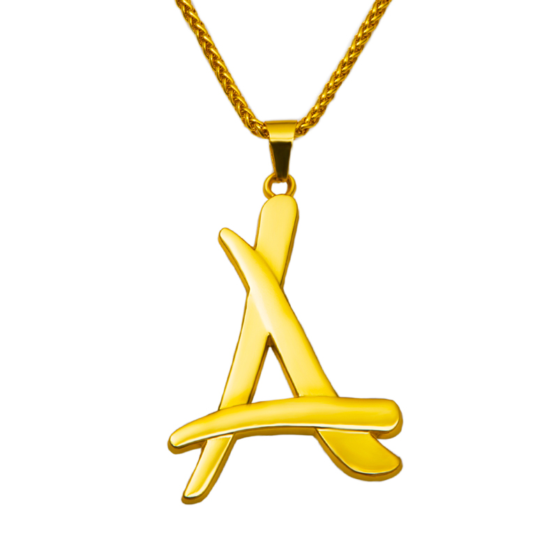 Hot Star Same Style A Letter Gold Chain Necklace Necklaces ...