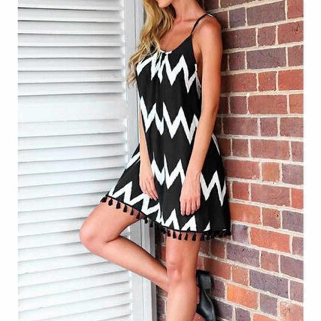 2019 חם נשים קיץ סקסי גל דפוס ציצית רצועת שרוולים חג חוף שמלת במעמד צד אחד מעולה suelta זרוק קניות Wd4