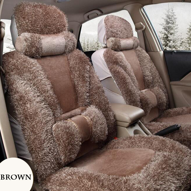 Brown Front Back Faux Fur Car Seat Cover Set For Most Automobiles Covers