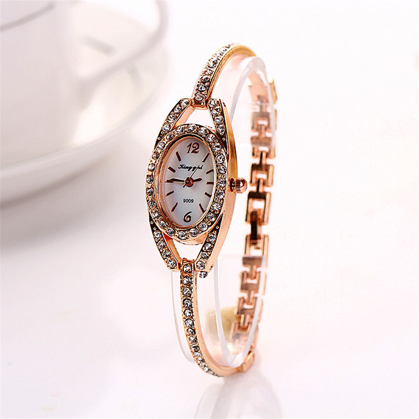 2017 Relogio Feminino erkek kol saati Fashion Women Lady Bracelet Stainless Steel Crystal Quartz Watch#June5