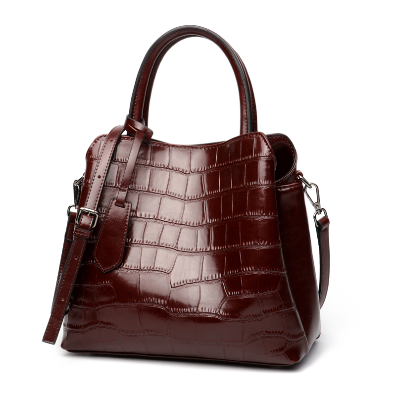 Najnowszy 100% prawdziwej skóry kobiet torebki znanych marek kamień wzór torba na ramię w stylu Vintage skóry wołowej dużego ciężaru torby Crossbody burgundii w Torby z uchwytem od Bagaże i torby na  Grupa 1