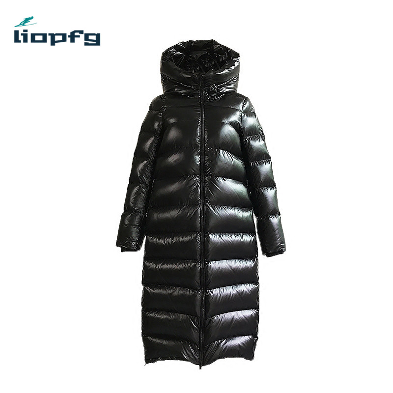 2017 New Fashion Women Down Jackets Winter Long Duck Down Jacket Hooded Collar Thick Warm Parkas Female Coat Black PQ068