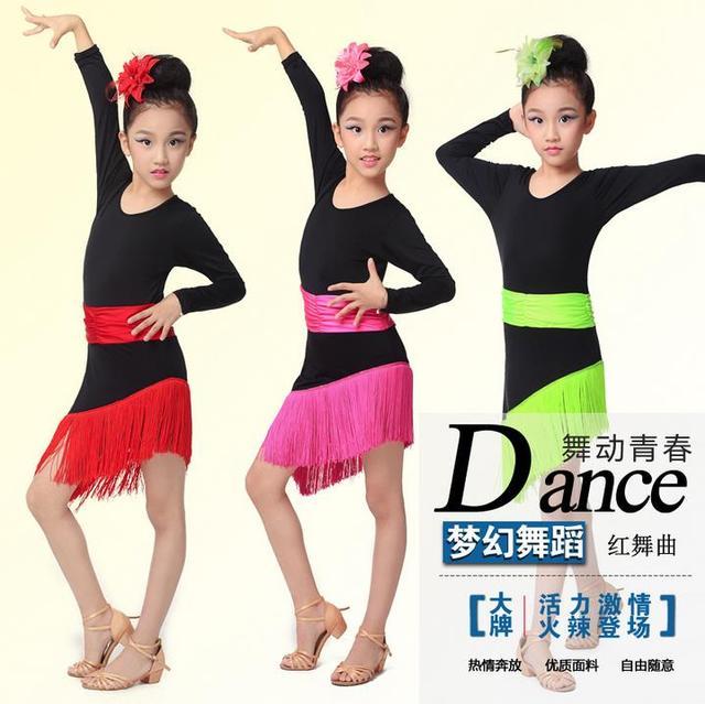 b027b9a18 2016 new style girls latin dance costumes senior milk silk long sleeves  latn dance dress for girls latin dance dresses S-3XL