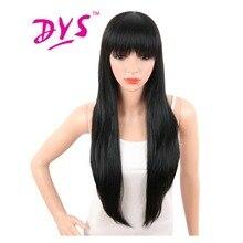 Deyngs 30 дюймов длинные прямые черные Искусственные парики с Накладные чёлки для черный Для женщин Естественно Синтетические термостойкие Для женщин волос с бесплатная Кепки