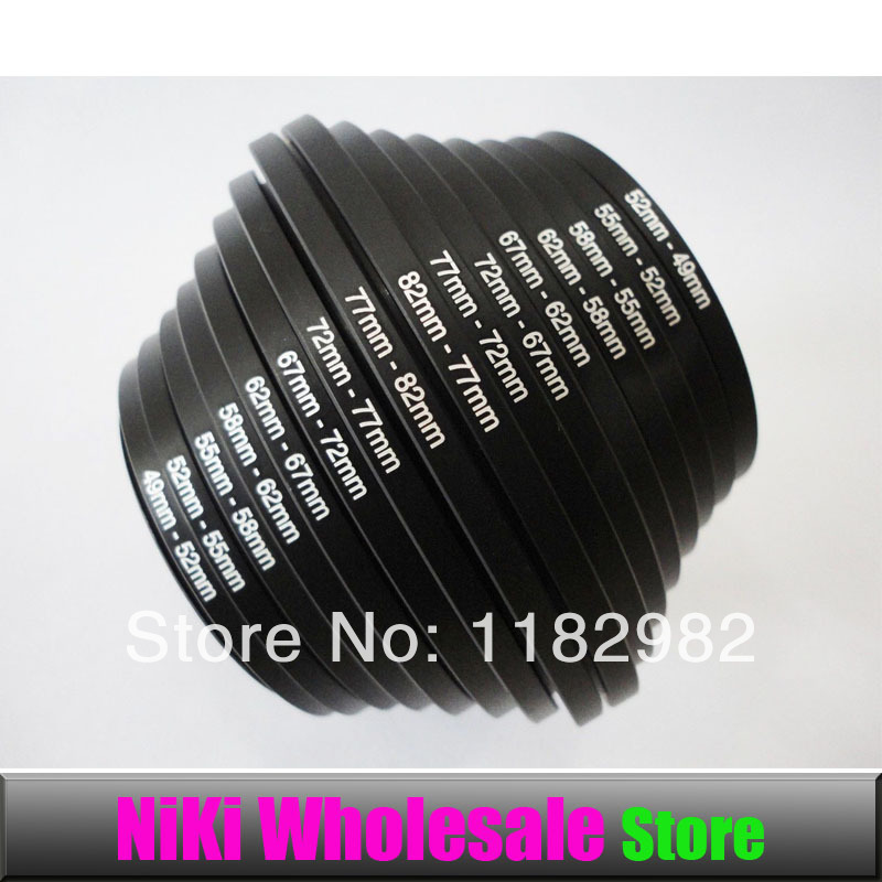 Lens Adapter Ring Filter Step up + Step down Rings set 16pcs 49mm-82mm + 82mm-49mm