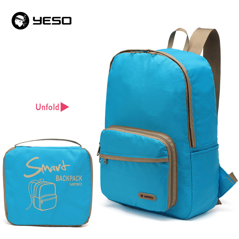 9b2d9bbc7752 YESO Fashion Casual Folding Backpack Men Waterproof Portable Nylon Backpack  Women Lightweight Blue Backpacks Bags For Teenager