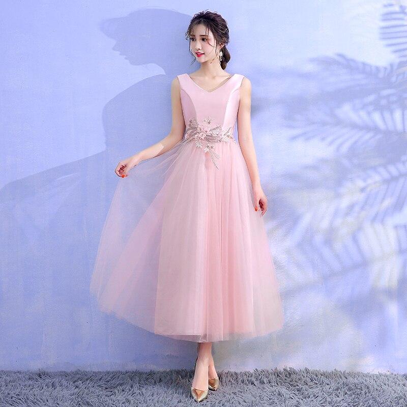 Bridesmaid Dresses  Wedding Satin Dress Pink Colour Sleeveless Embroidery Midi back of bandage
