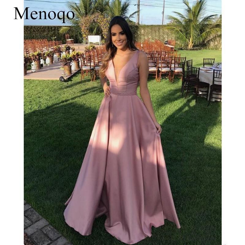 Elegant A Line Stain Evening Dresses 2019 Deep V Neck Sleeveless Beading Waist Long Evening Gown Robe De Soiree Party Dress