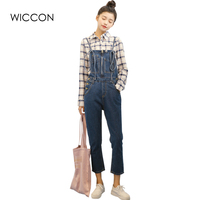 Brief Solid Women Jumpsuits Slim Strap Rompers Casual Big Pocket Denim Overalls Fashion Jean Jumpsuits Women