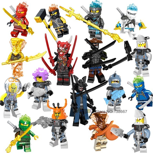 Golden Ninja Lloyd Jay Zane Nya Kai Wu Cole Sword Hammer Skeleton Weapon Building Blocks Toys Gift  Ninja Snakes s