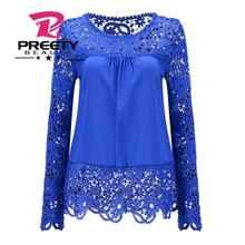 5XL push size Women Chiffon Blouses 2015 Autumn Fashion Lace long Sleeve Shirt Crochet blusa Tops blusas femininas camisa XXXL