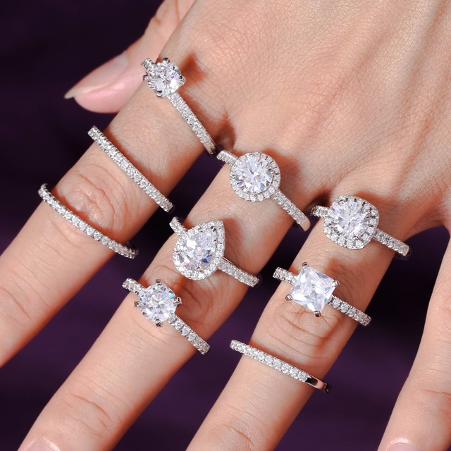 Exquisite 2 carat rose gold solitaire wedding rings 5A engagement rings for women stackable bridal gifts ring set jewelry