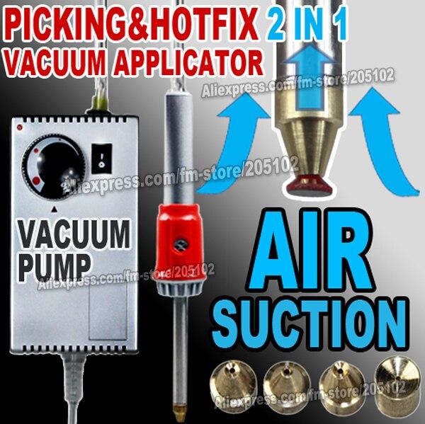 Vácuo de sucção de ar pick-up & Hotfix Aplicador varinha Gun super para o ferro em Hot fix Strass cristais DIY ferramentas