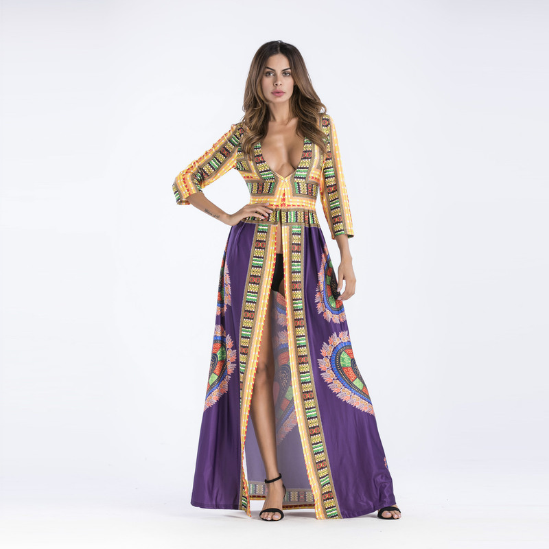 Women Beach Dress Fashion <font><b>2018</b></font> Summer Long Sleeved Print Maxi Dress <font><b>Sexy</b></font> Party Plus Size <font><b>Ladies</b></font> Sundress For Female Z381 image