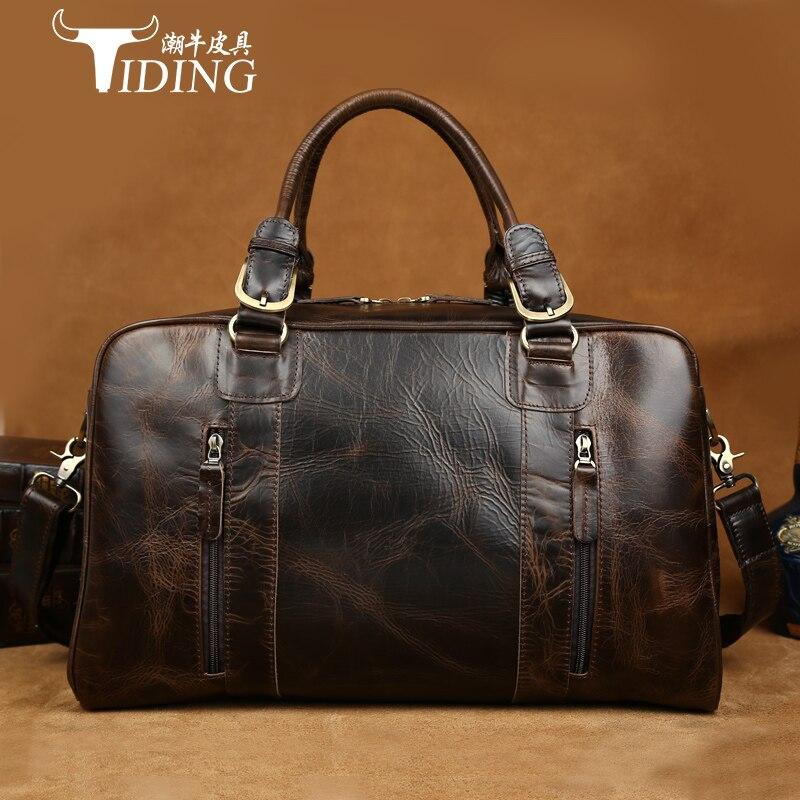 man travel bags cow leather 2017 Men Travel Bags Multifunction Men 100% Genuine Leather Travel Bag Big Capacity Shoulder Handbag 2017 bostanten travel men s big bags 100
