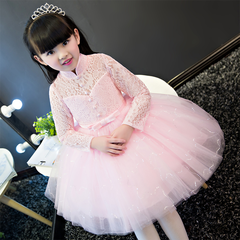 Elegant Girl Dress 2017 Summer New Fashion Pink Embroidery Lace Wedding Birthday Party Princess Dresses Baby Girl Luxury dresses