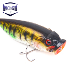 Купить с кэшбэком Popper Fishing Lures 7.5cm 15g Rattle Sound Hard Bait Assorted Colors 3D Eyes Fishing Tackle Artificial Isca Crankbait Wobblers