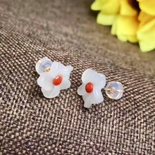 shilovem 18k rose gold Natural red coral drop earrings fine Jewelry wedding trendy plant gift Christmas new myme11.511.5sh