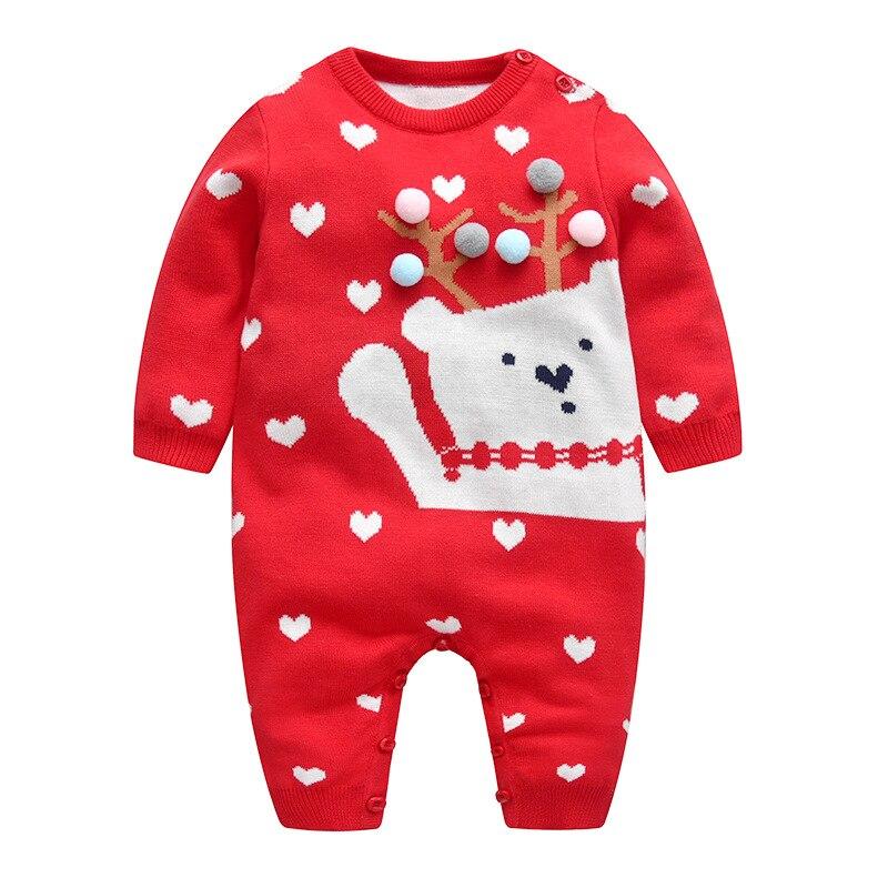 Automne et hiver nouveau bébé de rampement vêtements coton vêtements de fil tricoté ours amour boule de fourrure nouvelle année