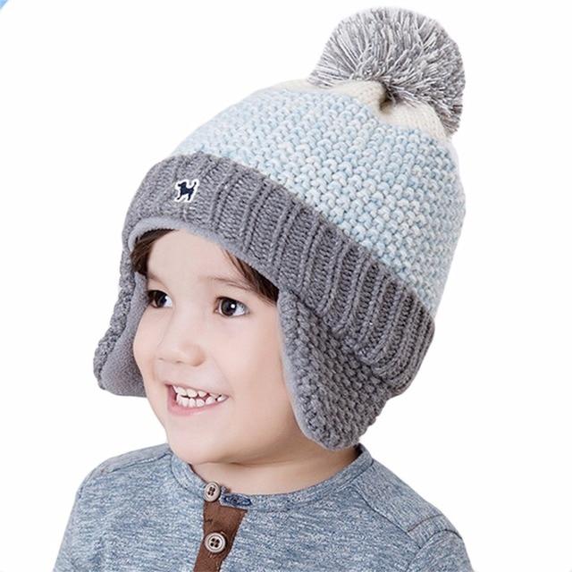 Shevipshe Kids Faux Fur Pom Pom Hat Baby Winter Crochet Earflap Hat Girls  Boys Knitted Beanie Ball Fur Pompom Hat for Children c93b5e64030e