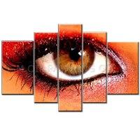 Top Artist Handmade High Quality 5 Panels Abstract Modern Eye Oil Painting on Canvas Handmade Big Realist Eyeball Oil Painting