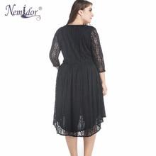 Nemidor Elegant Half Sleeve Vintage A-line Dress