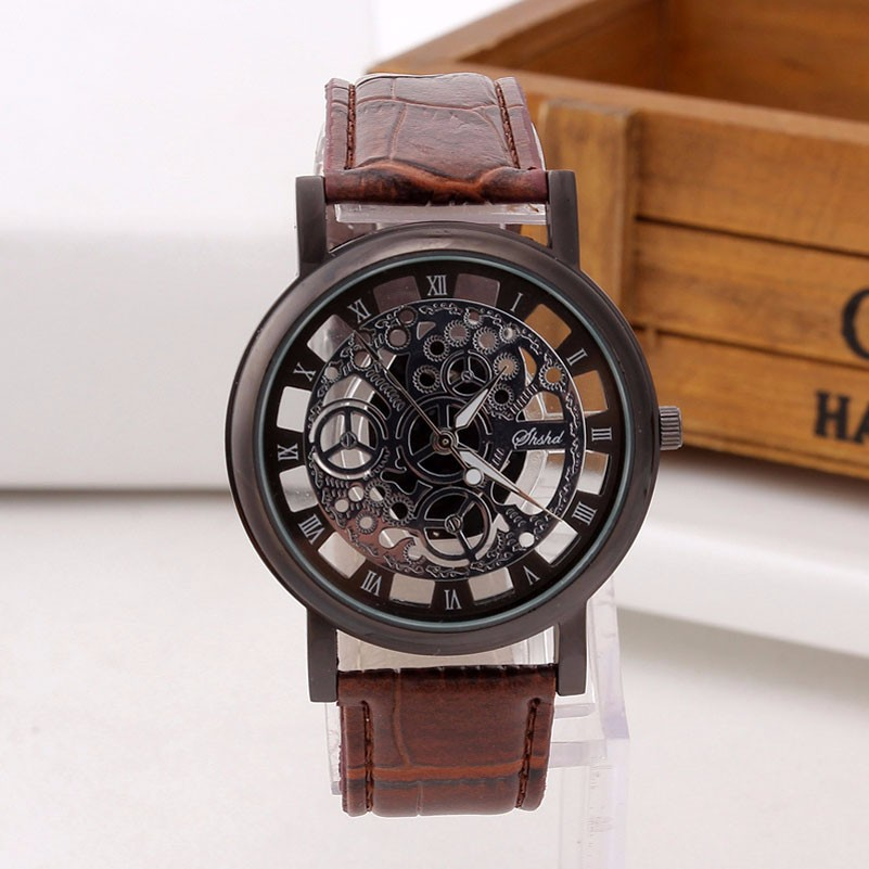 Skeleton Watch Engraving Hollow with Brown Leather Band