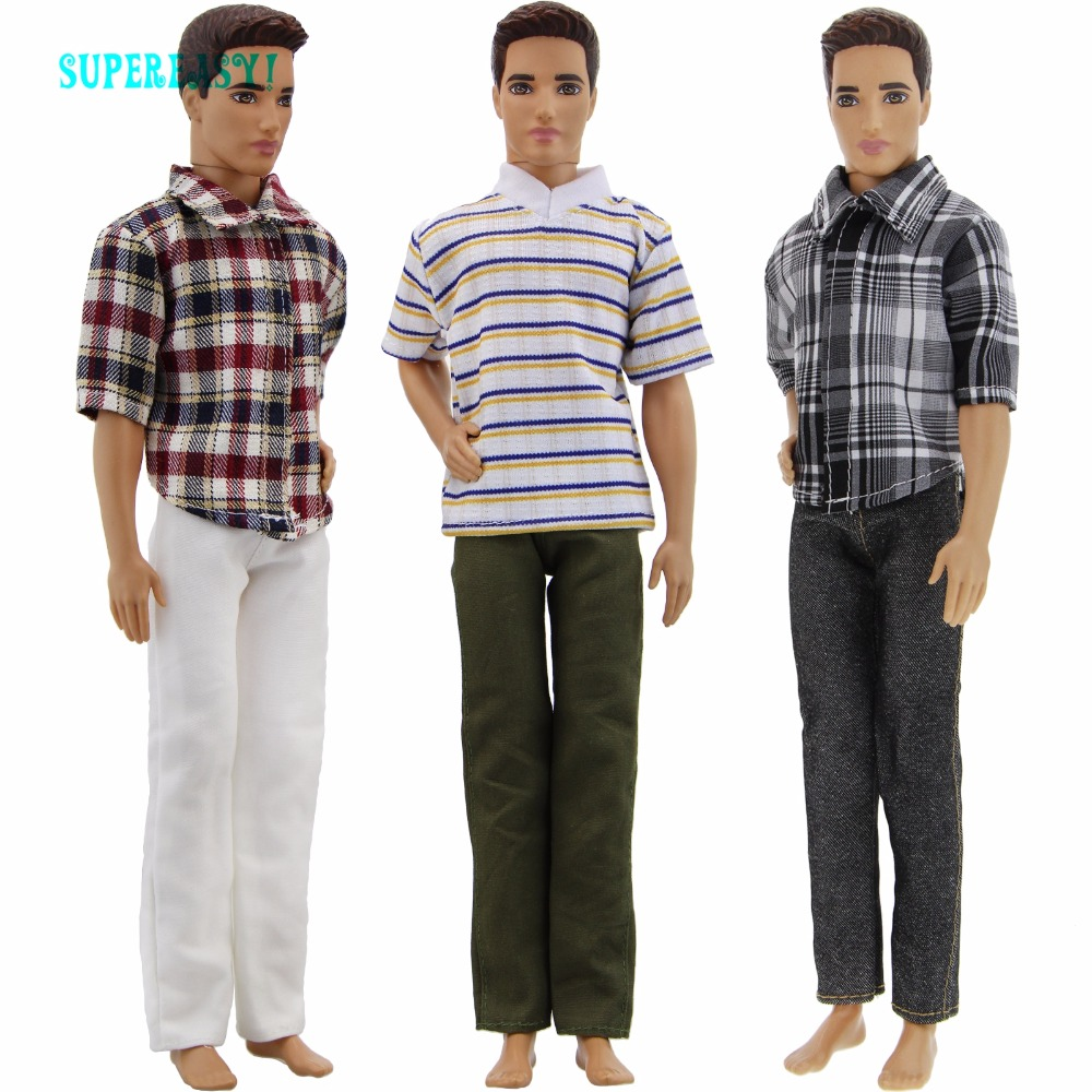 3 Sets Outfit Daily Casual Wear Handmade Fashion Costume Horizontal Stripes Trousers Clothes For Barbie Ken Doll 1/6 Dollhouse handmade casual wear outfit jacket coat gray vest pants khaki trousers clothes for american girl doll 18 accessories toys gift