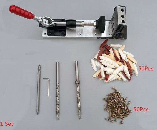 Premintehdw Pocket Hole Jig Clamp Screw Guide Kit Adjustable Height Vise Toggle Clamps woodworking tool pocket hole jig woodwork guide repair carpenter kit system with toggle clamp and step drilling bit k527