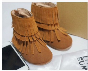 2015 new Genuine cow leather fringe baby boots kids tassel winter snow boots fashion dress shoes for baby girls baby moccasins