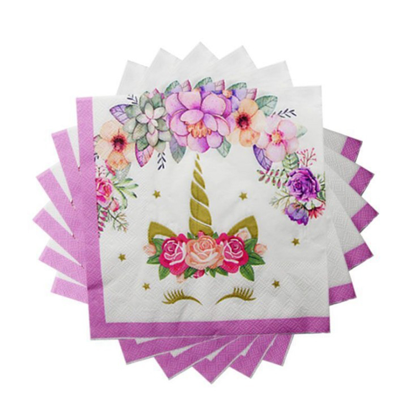 20 Pcs/pack Lovely Unicorn Napkin Paper Disposable Tableware Wedding Party Kids Girl Boys Birthday Decoration Supplies