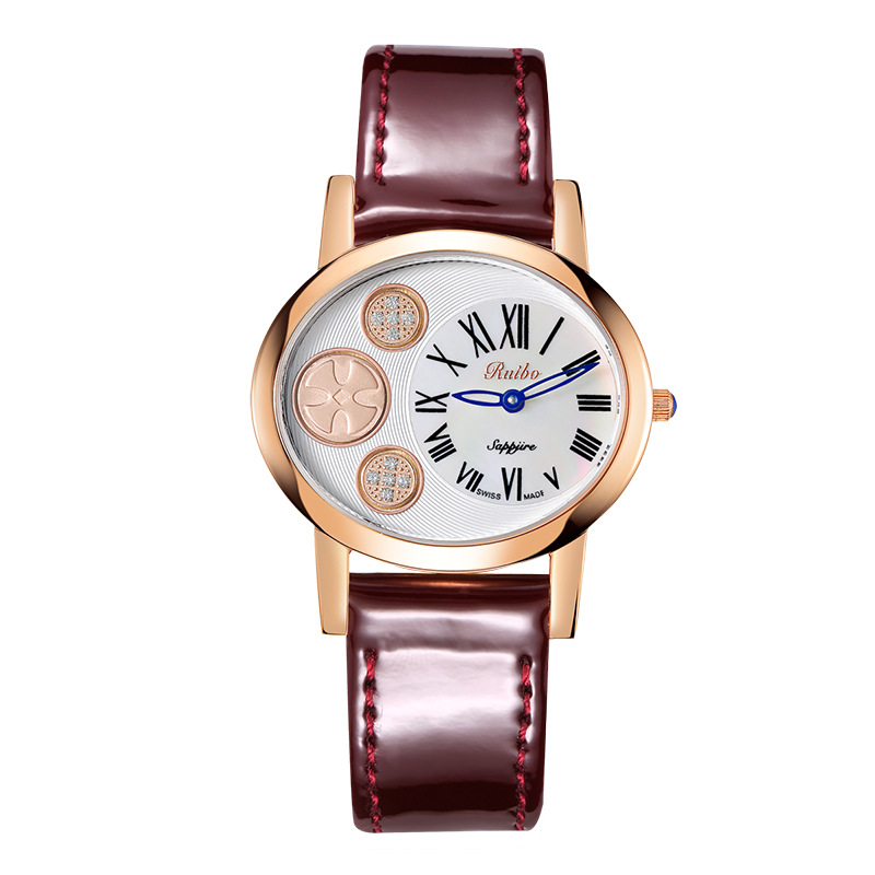 luxury ladies wristwatches genuine leather waterproof womens watches quartz sapphire crystal Citizen movement RUIBO BRAND