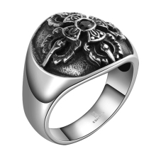 GOMAYA Mens Rings 316L Stainless Steel Punk Hip Vintage Classic Flower Cross Design with Black Zircon  for Women Patry