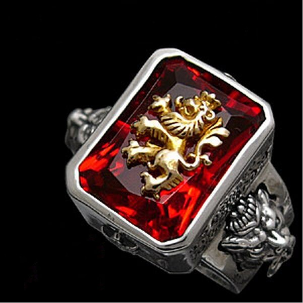 Rastavibrations male lion gem pure silver thai silver index finger ring