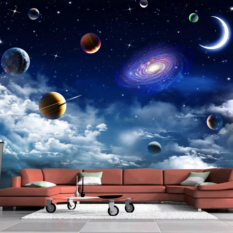 Custom Size Universe Starry Sky 3D Photo Wallpaper For Living Room Bedroom TV Backdrop Ceiling Decor Wall Mural Papel De Parede