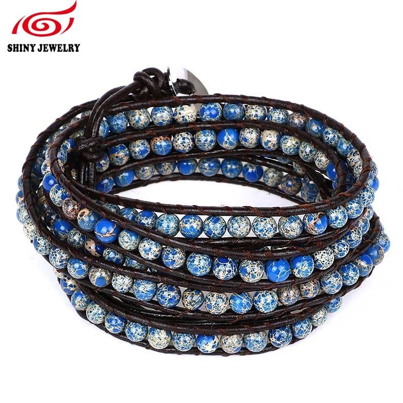 Handmade MultiLayer Wrap Bracelet for Women Men Mixed Leather Sea Sediment Jaspers Turquoises Natural Stone Bead Strand Bracelet