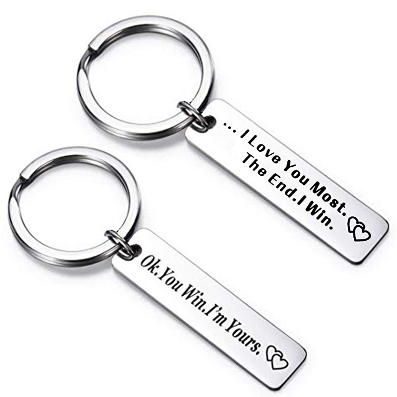 I Love You Most The End I Win Keychain Valentines Day Boyfriend Girlfriend Romantic Gift Friendship Accessory couples Key Chain in Key Chains from Jewelry Accessories