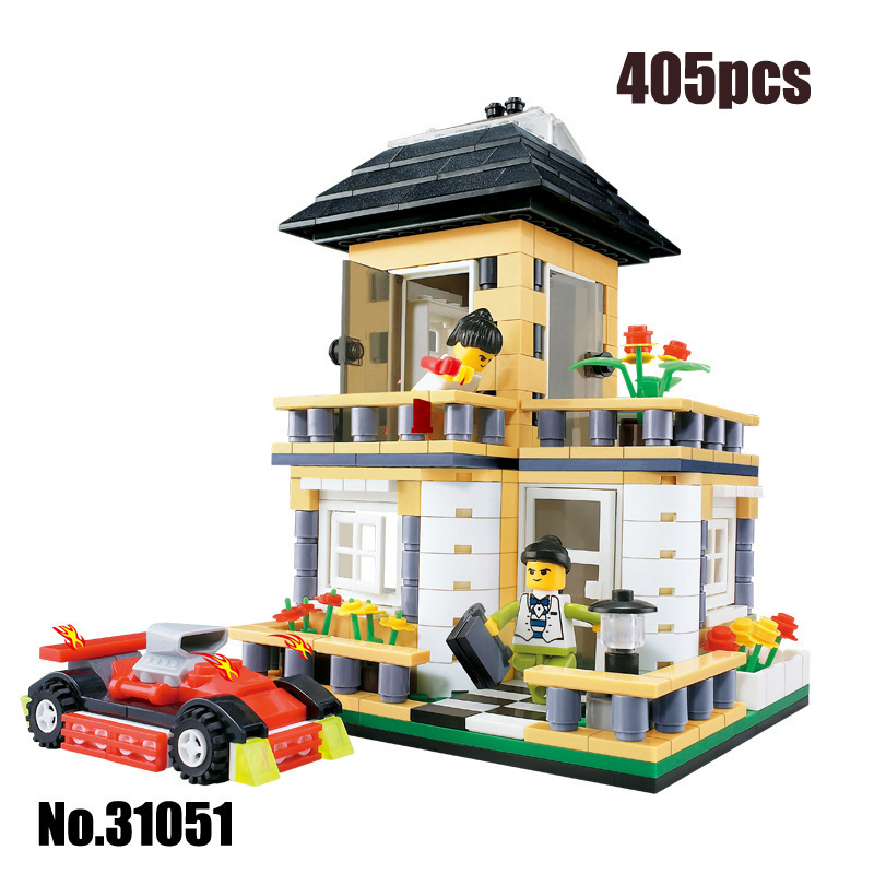 Wange City Creation Villa 31051 Building Blocks Sets 405pcs Educational DIY Bricks Toys For Children Toys Gift lepin 02012 city deepwater exploration vessel 60095 building blocks policeman toys children compatible with lego gift kid sets