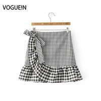 VOGUEIN New Womens Girls Red Black Checks Plaids Print Zipper Flounce Mini Skirt With Bow Size