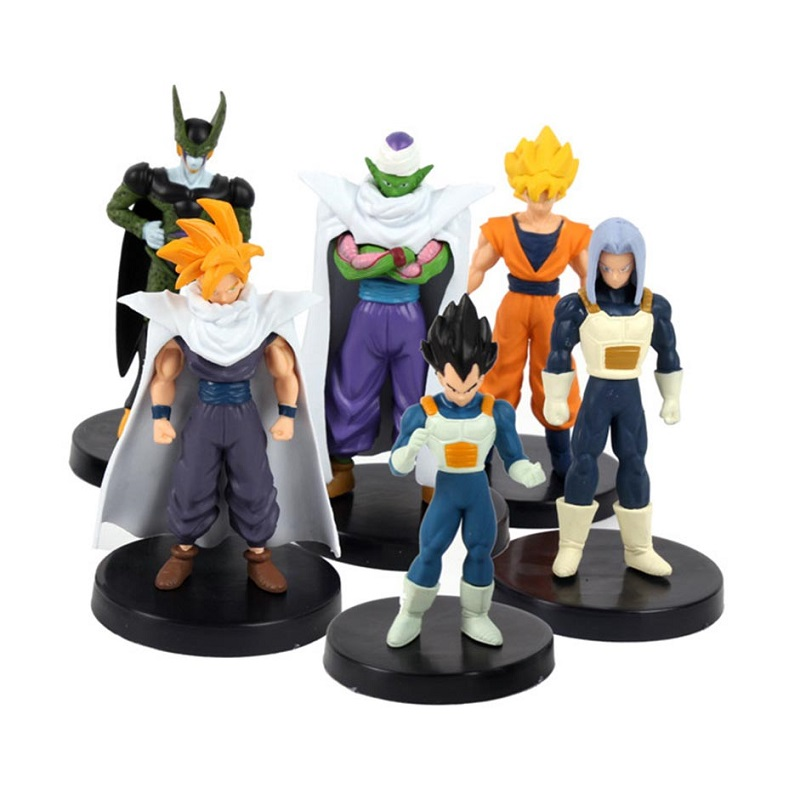 Cheapest 1 Set -6pc Dragon Ball Character Pvc Activity Action Figure Model Toy Diy Display Dragon Ball Toy Cartoon Birthday Gift simulation mini golf course display toy set with golf club ball flag