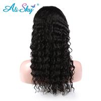 Alisky Deep Curly Indian Full Lace Wigs Human Hair With Baby Hair Pre Plucked Hairline Bleached Knots Remy Hair natural color