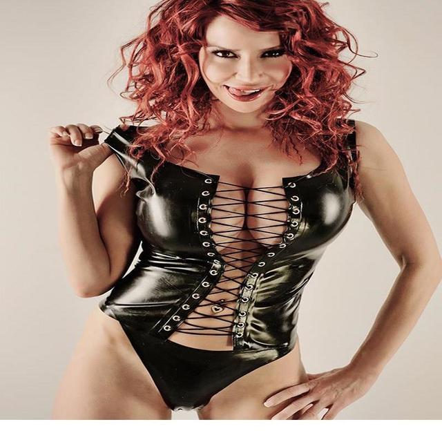 883339f01d8 2016 High Quality Sexy Women Lingerie Underwear Wetlook Faux Leather Corset  Black Vinyl Lace Up Tank