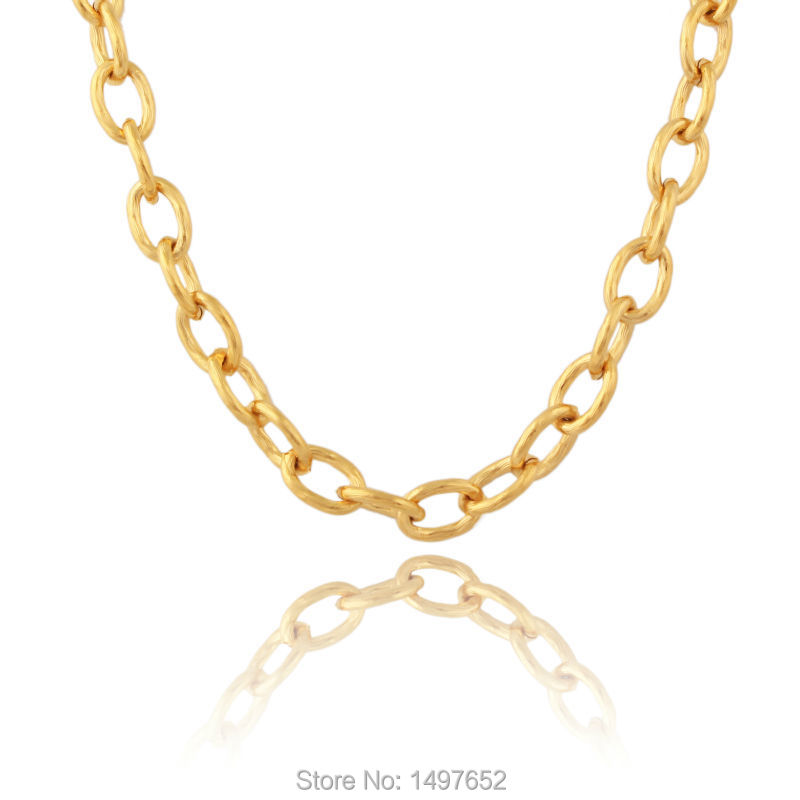 Classic Big Circle Link Chain Gold Filled Necklace For Womens Men Jewelry Party Gift Wholesale