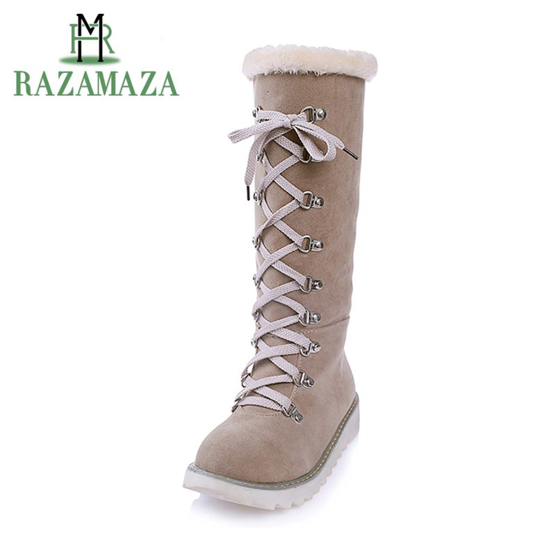 RAZAMAZA Size 34-43 Women Thick Fur Warm Snow Botas Women Mid Calf Winter Boots Women Platform Cross Strap Slip On Shoes wholesale 1 set 320a high voltage esc brushed speed controller for rc car truck boat dropship
