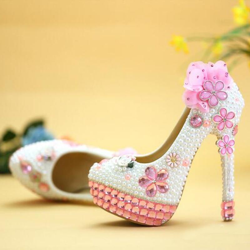 2016 Handmade Pink Kristal High Heels Bling Bling Berlian Imitasi dan Putih  Mutiara Pernikahan Sepatu Pengantin Tumit Tinggi Partai Prom Sepatu di  Wanita ... a83f8cfd354e