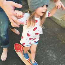 2pcs   Summer Clothes Clothing Set Suit Kids Infant Newborn Baby Girls Outfits Set Lip Kiss Top T Shirt Jeans Short Pants