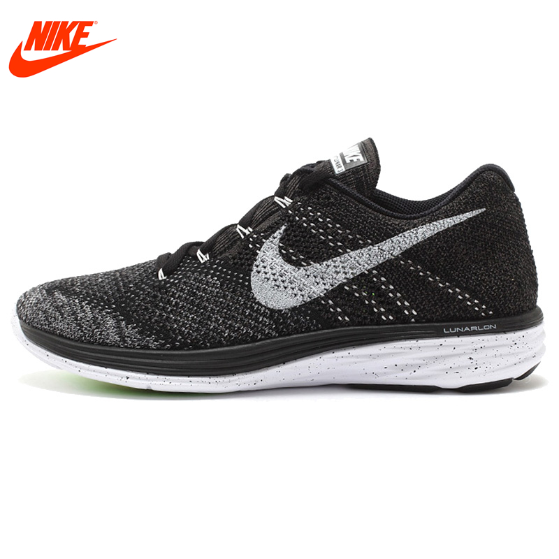 Официальный Новое поступление Аутентичные Nike FLYKNIT LUNAR 3 Для мужчин сетки свет кроссовки прогулочные кроссовки для бега