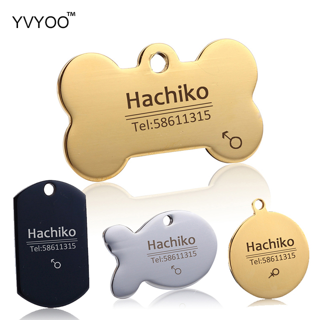 YVYOO Dog collar Stainless steel dog cat tag Free engraving Pet collar accessories ID tag name telephone Pet Supplies AA 1