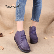 Tastabo Martin Boots Leather Shoe Weave Lace-Up Handmade Original Retro Round Flat Boots Female Leisure Women Ankle Boots Blac